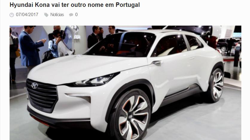 Hyundai Kona vai ter outro nome em Portugal.