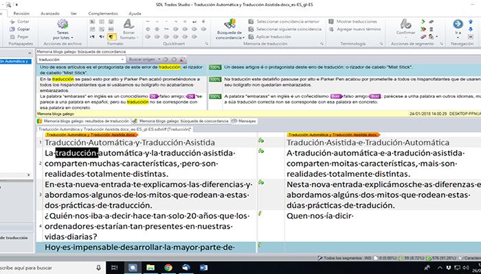 Captura de pantalla del Software de traducción asistida, SDL Trados Studio.