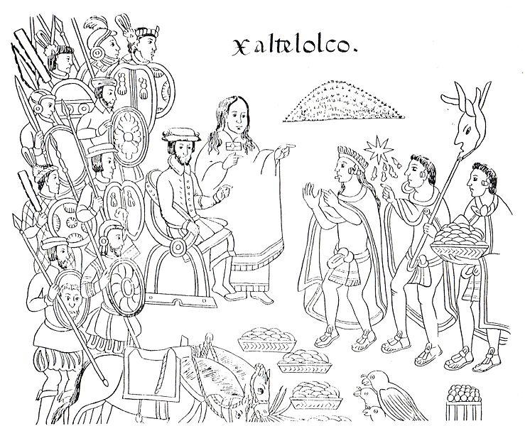 La Malinche como intérprete de Cortés