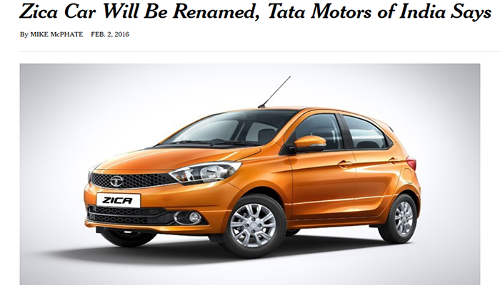 Zica car will be renamed, Tata Motors of India says