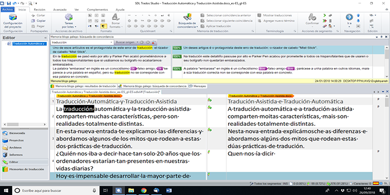 Captura de pantalla do Software de tradución asistida, SDL Trados Studio.