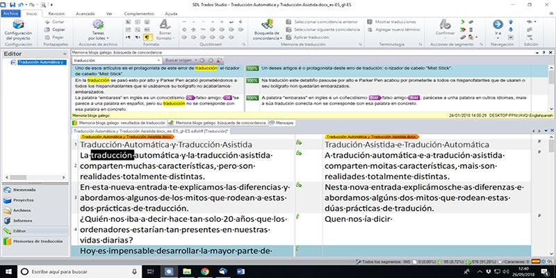 Captura de pantalla do Software de tradución asistida, SDL Trados Studio.