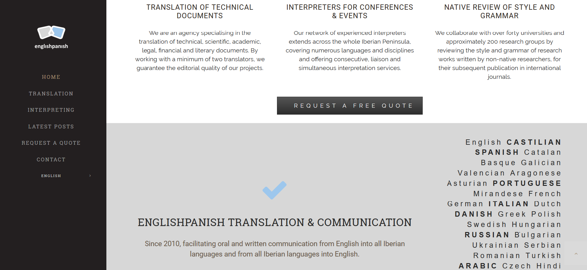 Englishpanish Webpage